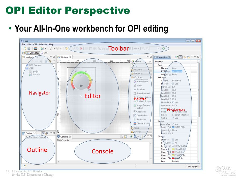 13Managed by UT-Battelle for the U.S. Department of Energy OPI Editor Perspective Your All-In-One workbench for OPI editing Navigator Editor Palette P