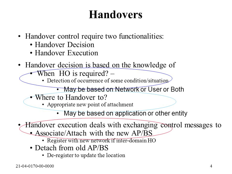 21-04-0170-00-00004 Handovers Handover control require two functionalities: Handover Decision Handover Execution Handover decision is based on the knowledge of When HO is required.