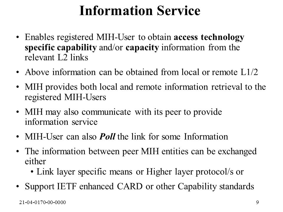 21-04-0170-00-000020 L1/L2 behaviors Link BandwidthRT or Non-RT determination, Part of new link found trigger Notified by L1/L2 to MIH as part of link attributes  MIH can also poll on User request Delivered to Registered MIH- User with  Candidate link Available event QoS indicators (e.g.