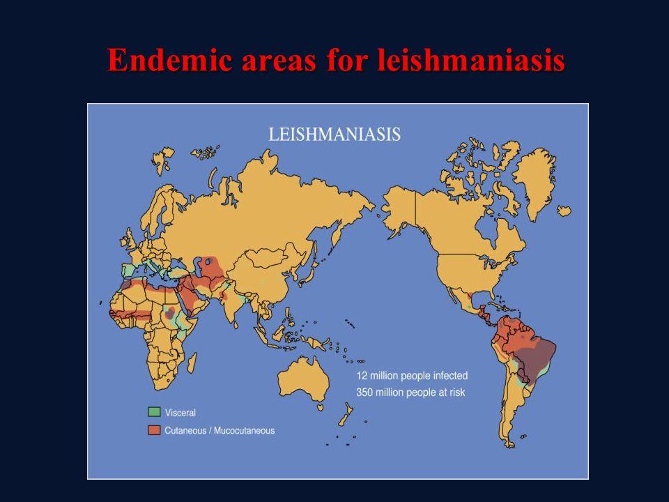 Endemic areas for leishmaniasis Endemic areas for leishmaniasis
