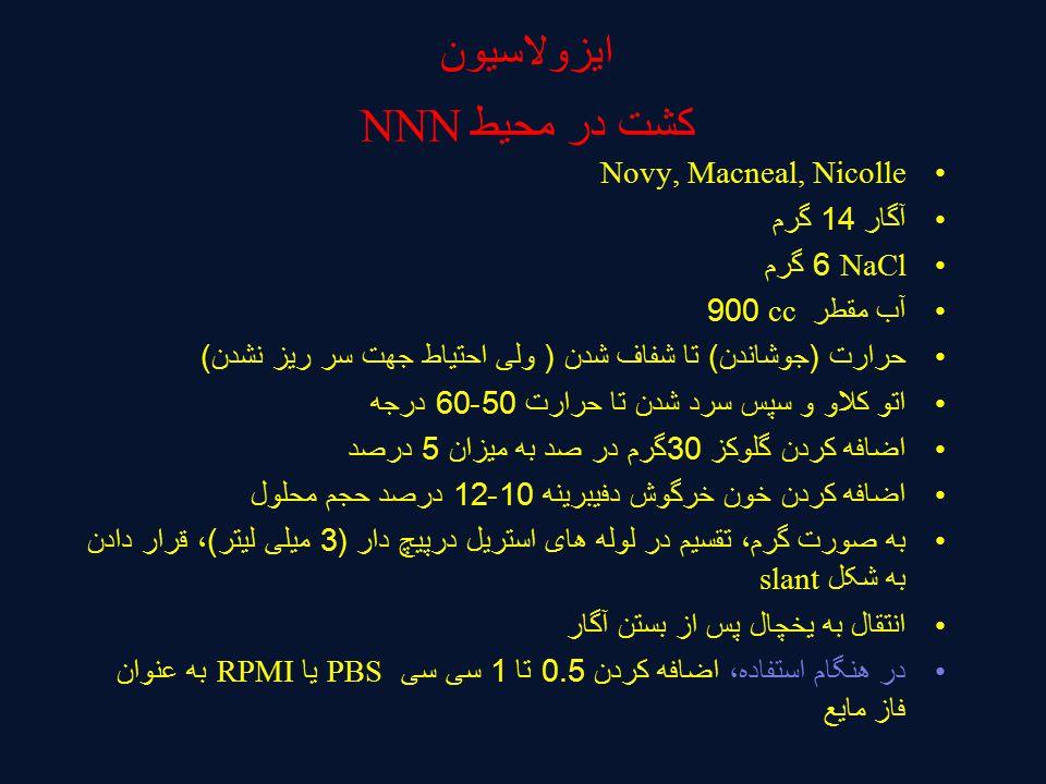 ایزولاسیون کشت در محیط NNN Novy, Macneal, Nicolle آگار 14 گرم NaCl 6 گرم آب مقطر cc 900 حرارت (جوشاندن) تا شفاف شدن ( ولی احتیاط جهت سر ریز نشدن) اتو کلاو و سپس سرد شدن تا حرارت 50-60 درجه اضافه کردن گلوکز 30گرم در صد به میزان 5 درصد اضافه کردن خون خرگوش دفیبرینه 10-12 درصد حجم محلول به صورت گرم، تقسیم در لوله های استریل درپیچ دار (3 میلی لیتر)، قرار دادن به شکل slant انتقال به یخچال پس از بستن آگار در هنگام استفاده، اضافه کردن 0.5 تا 1 سی سی PBS یا RPMI به عنوان فاز مایع