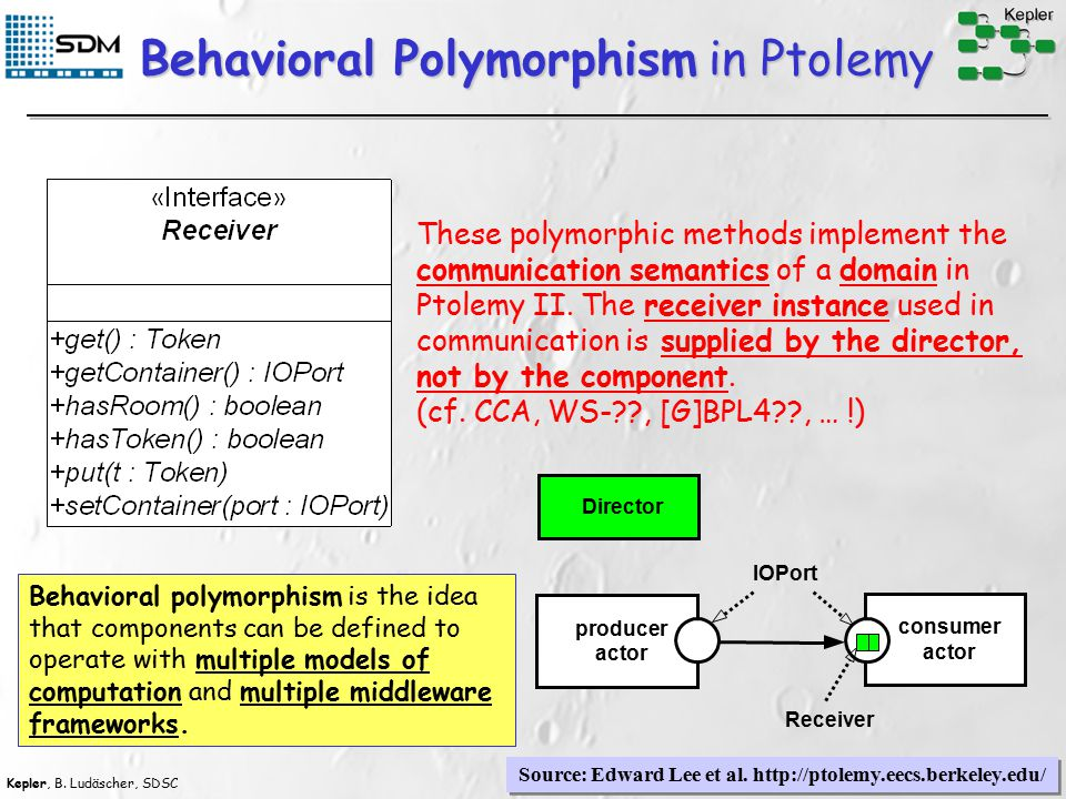 Kepler, B. Ludäscher, SDSC 20 Behavioral Polymorphism in Ptolemy These polymorphic methods implement the communication semantics of a domain in Ptolem