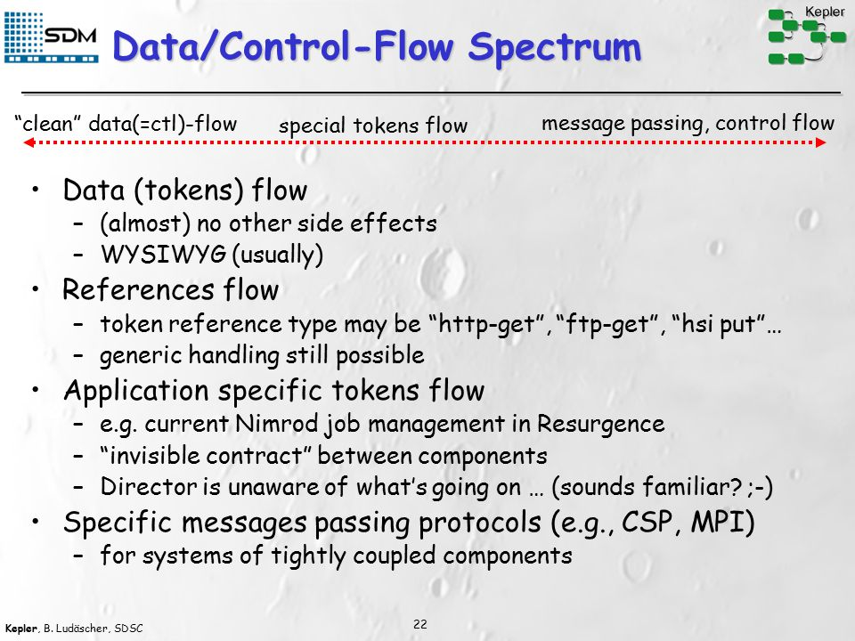 Kepler, B. Ludäscher, SDSC 22 Data/Control-Flow Spectrum Data (tokens) flow –(almost) no other side effects –WYSIWYG (usually) References flow –token