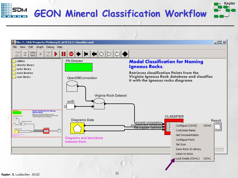 Kepler, B. Ludäscher, SDSC 31 GEON Mineral Classification Workflow