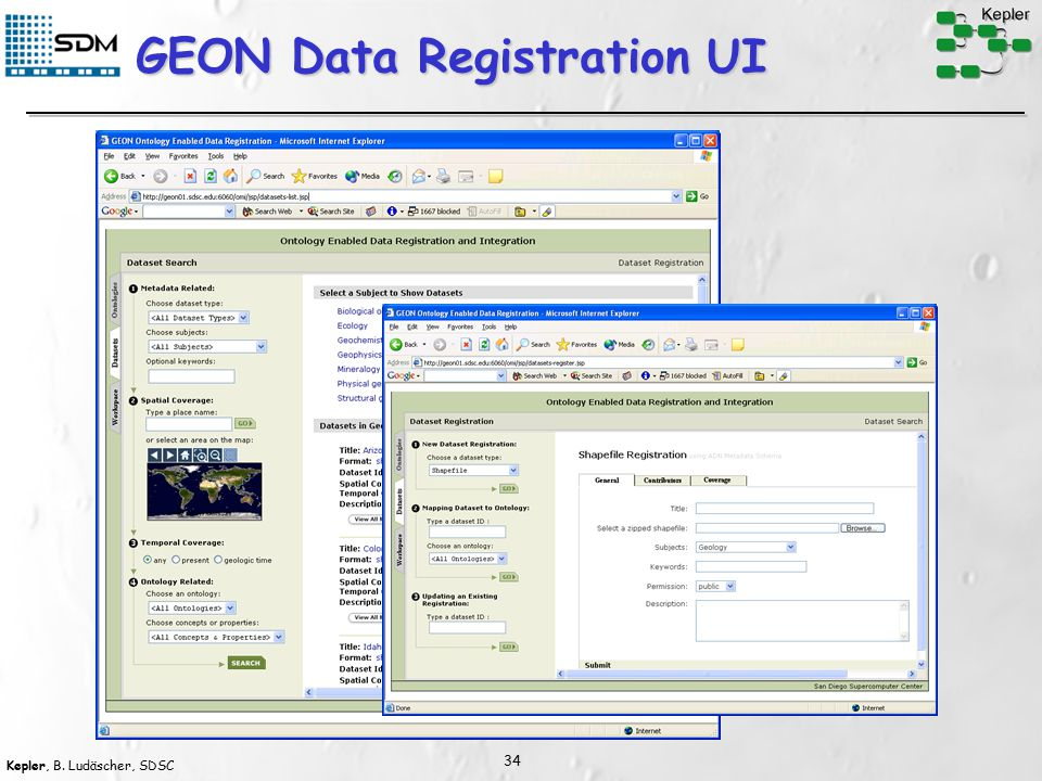 Kepler, B. Ludäscher, SDSC 34 GEON Data Registration UI