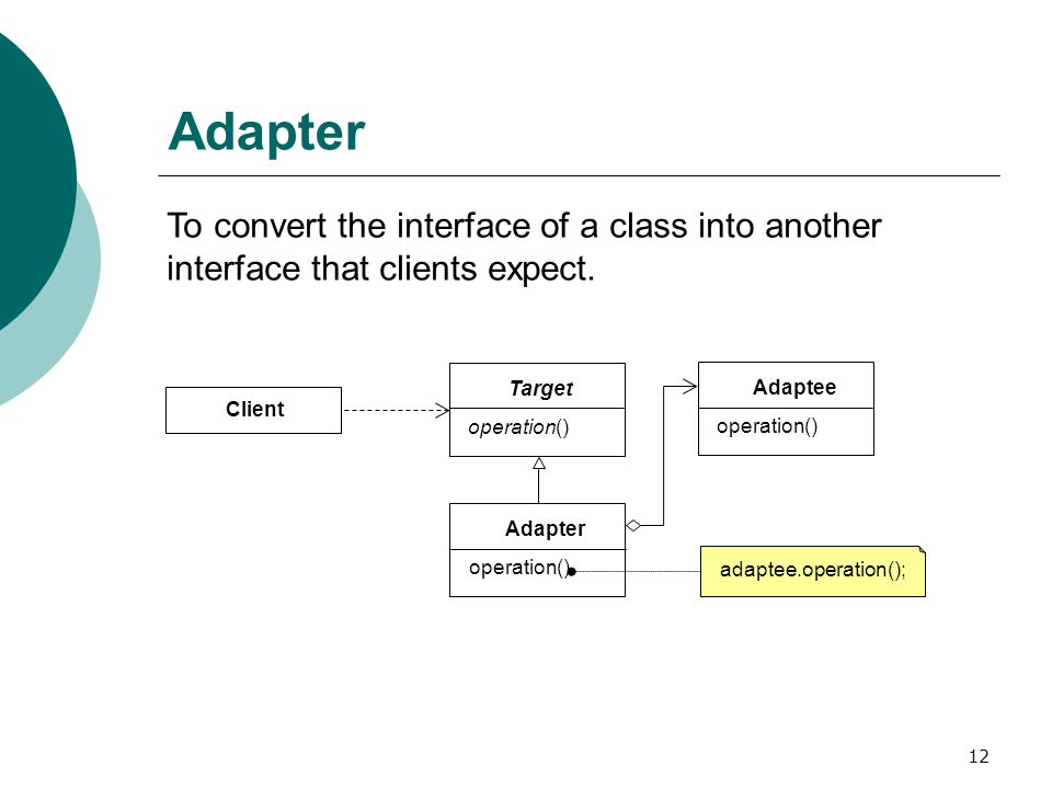 12 Adapter To convert the interface of a class into another interface that clients expect.