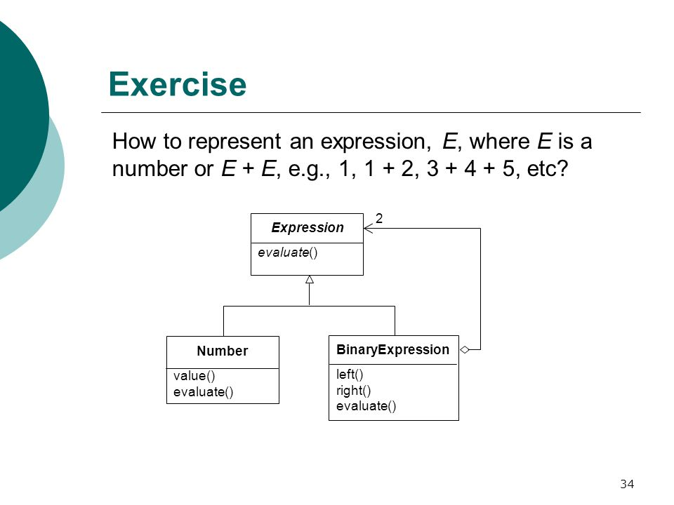 34 Exercise How to represent an expression, E, where E is a number or E + E, e.g., 1, 1 + 2, 3 + 4 + 5, etc.