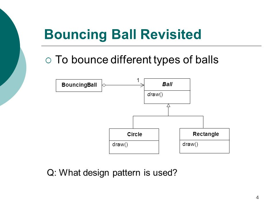 4 Bouncing Ball Revisited  To bounce different types of balls BouncingBall Circle draw() Ball draw() Rectangle draw() 1 Q: What design pattern is used
