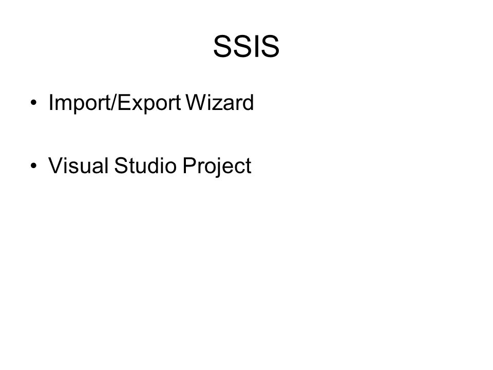 SSIS Import/Export Wizard Visual Studio Project