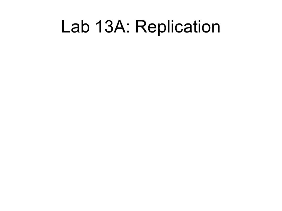 Lab 13A: Replication