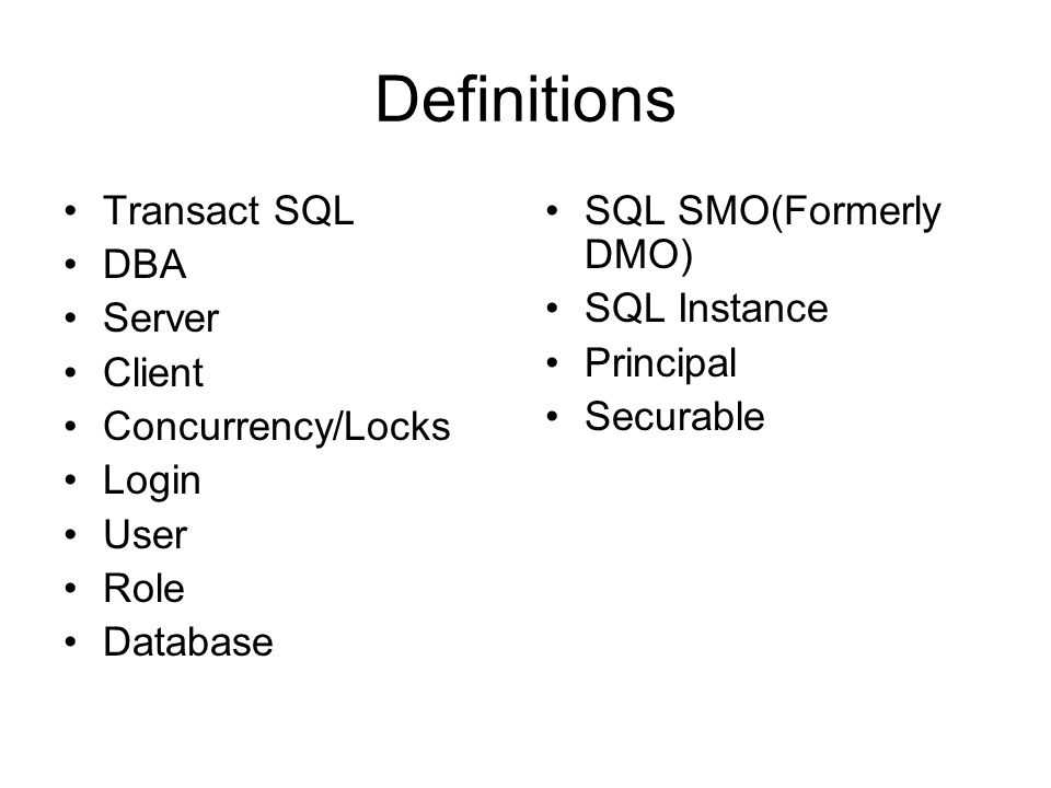Tools SQL Management Studio Visual Studio.Net (2005/2008) SQL Server Configuration Manager Command Prompt –SQLCMD –Ping, telnet, nslookup, net use Database Tuning Advisor Full-FeaturedText Editor –Notepad++(Free) –UltraEdit –Textpad Profiler