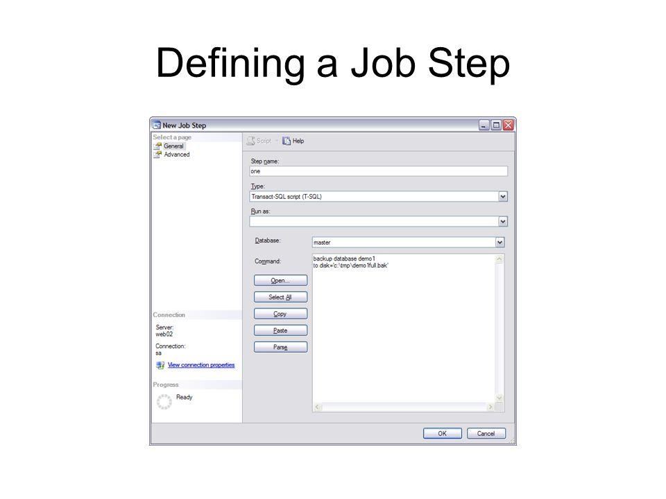 Defining a Job Step