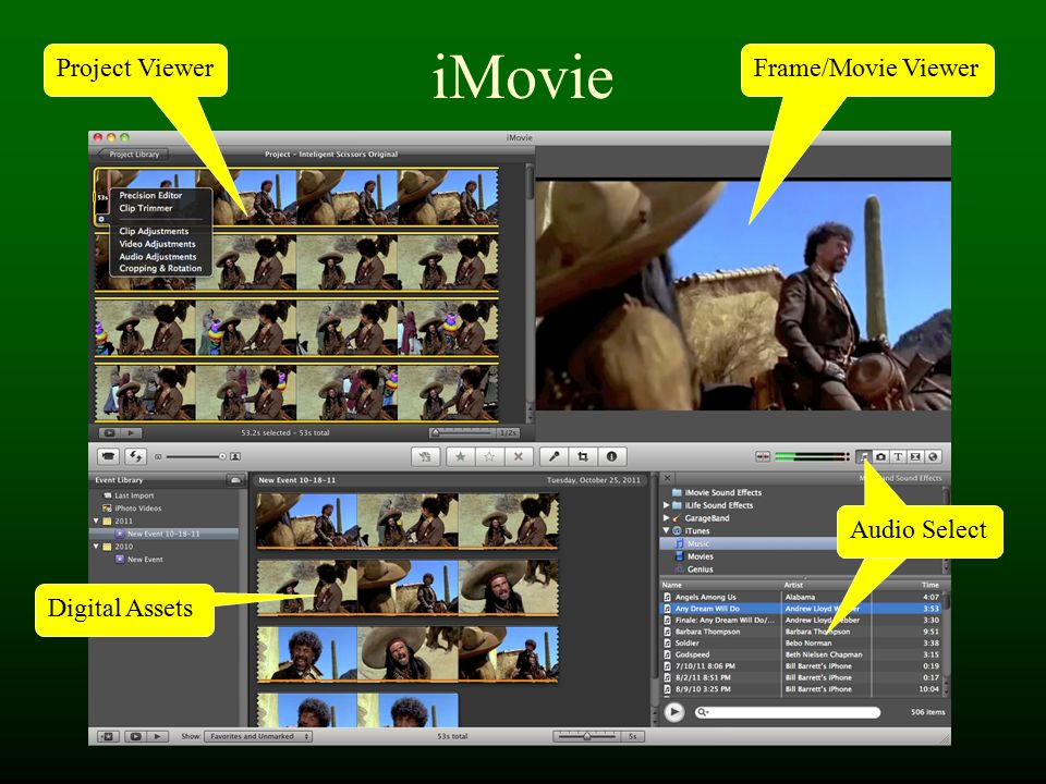 iMovie Frame/Movie Viewer Digital Assets Audio Select Project Viewer