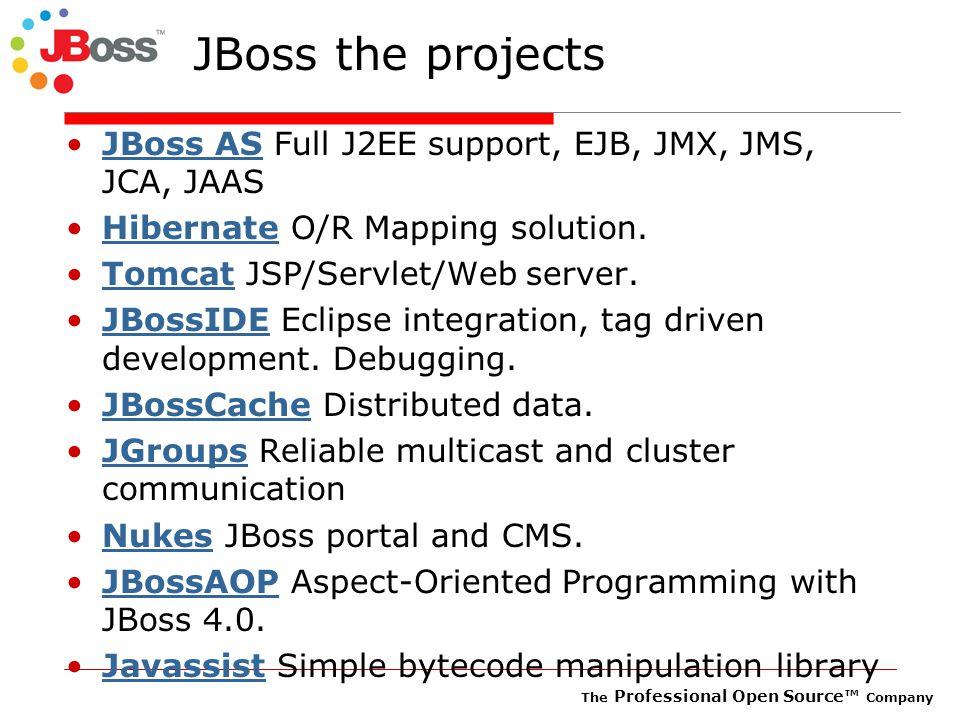 The Professional Open Source™ Company JBoss the projects JBoss AS Full J2EE support, EJB, JMX, JMS, JCA, JAASJBoss AS Hibernate O/R Mapping solution.Hibernate Tomcat JSP/Servlet/Web server.Tomcat JBossIDE Eclipse integration, tag driven development.