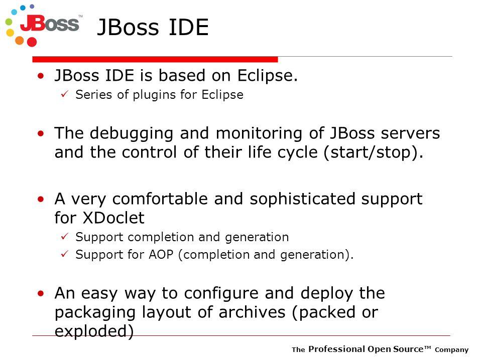 The Professional Open Source™ Company JBoss IDE JBoss IDE is based on Eclipse.