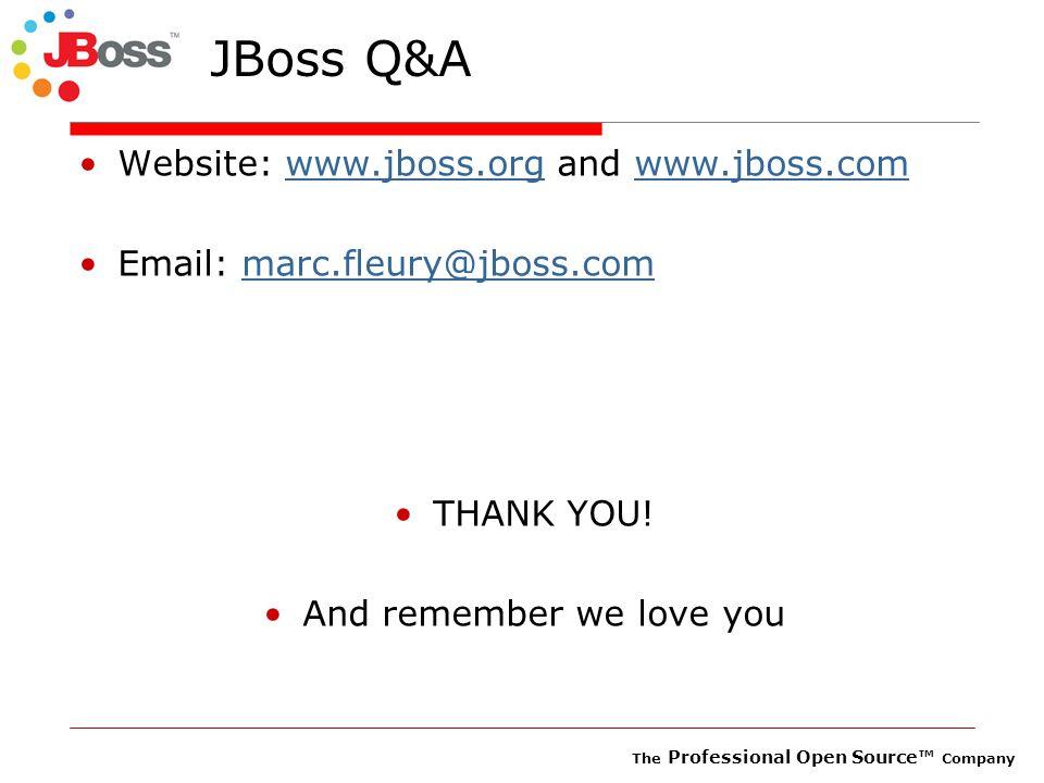 The Professional Open Source™ Company JBoss Q&A Website: www.jboss.org and www.jboss.comwww.jboss.orgwww.jboss.com Email: marc.fleury@jboss.commarc.fleury@jboss.com THANK YOU.