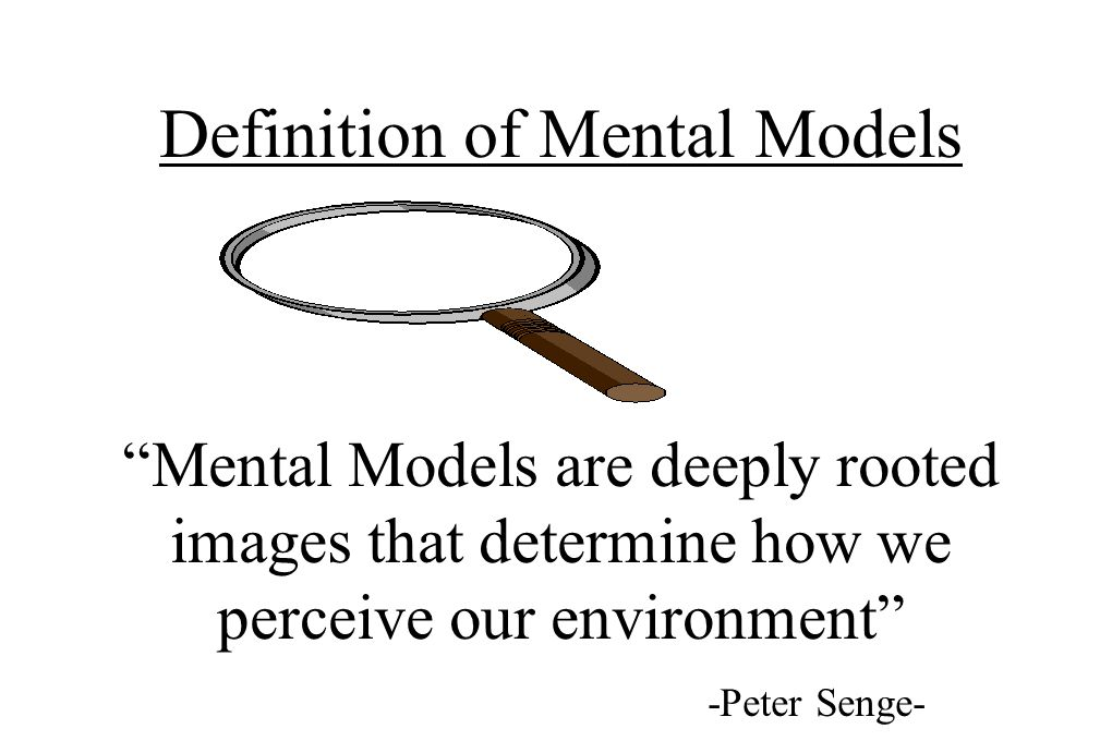 Definition of Mental Models Mental Models are deeply rooted images that determine how we perceive our environment -Peter Senge-