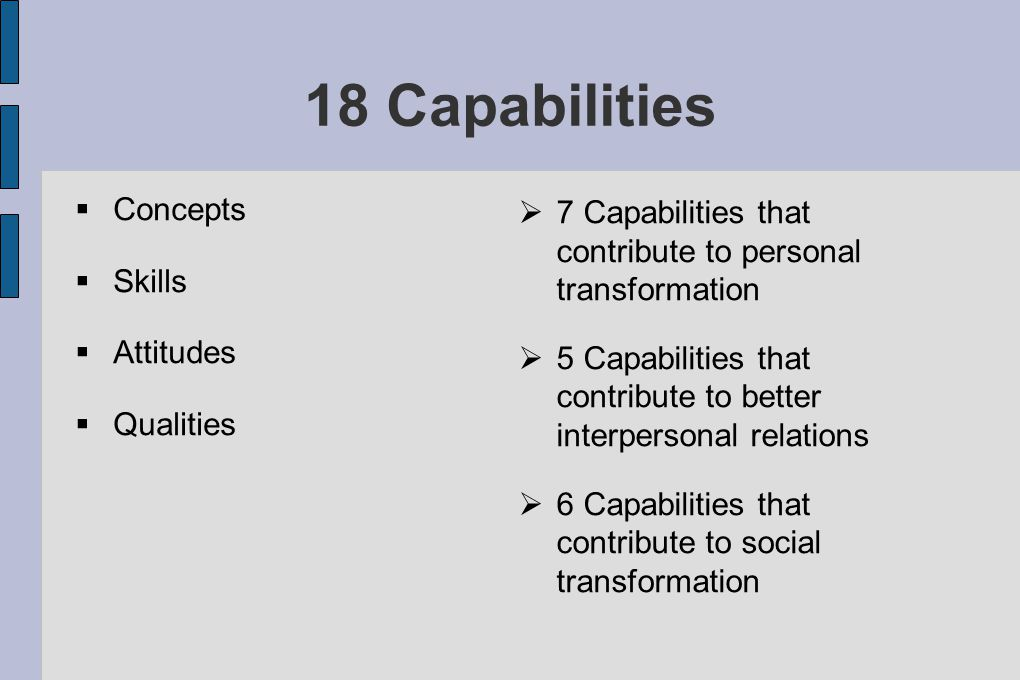 18 Capabilities  Concepts  Skills  Attitudes  Qualities  7 Capabilities that contribute to personal transformation  5 Capabilities that contribute to better interpersonal relations  6 Capabilities that contribute to social transformation