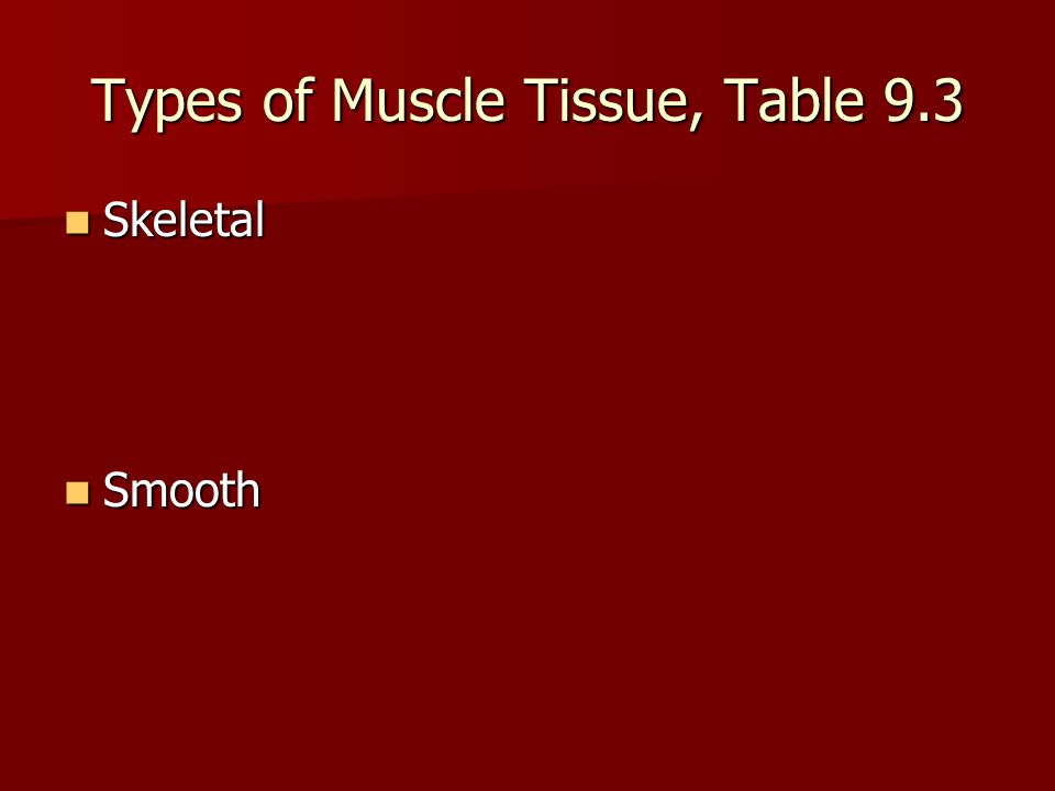 Types of Muscle Tissue, Table 9.3 Skeletal Skeletal Smooth Smooth