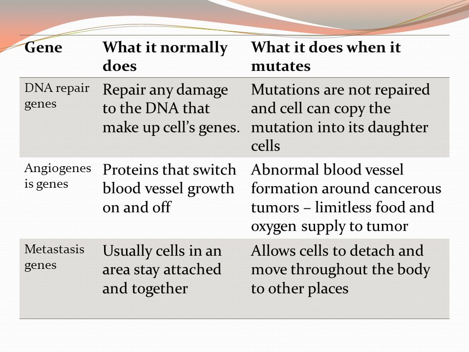 GeneWhat it normally does What it does when it mutates DNA repair genes Repair any damage to the DNA that make up cell's genes. Mutations are not repa