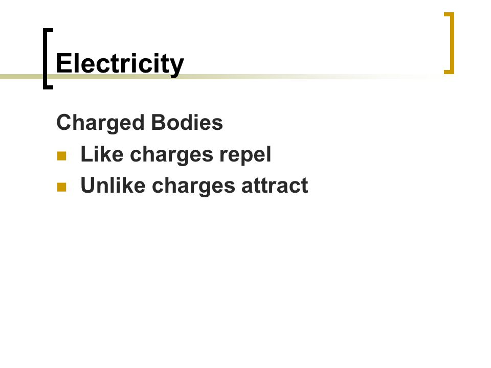 Electricity Charged Bodies Like charges repel Unlike charges attract
