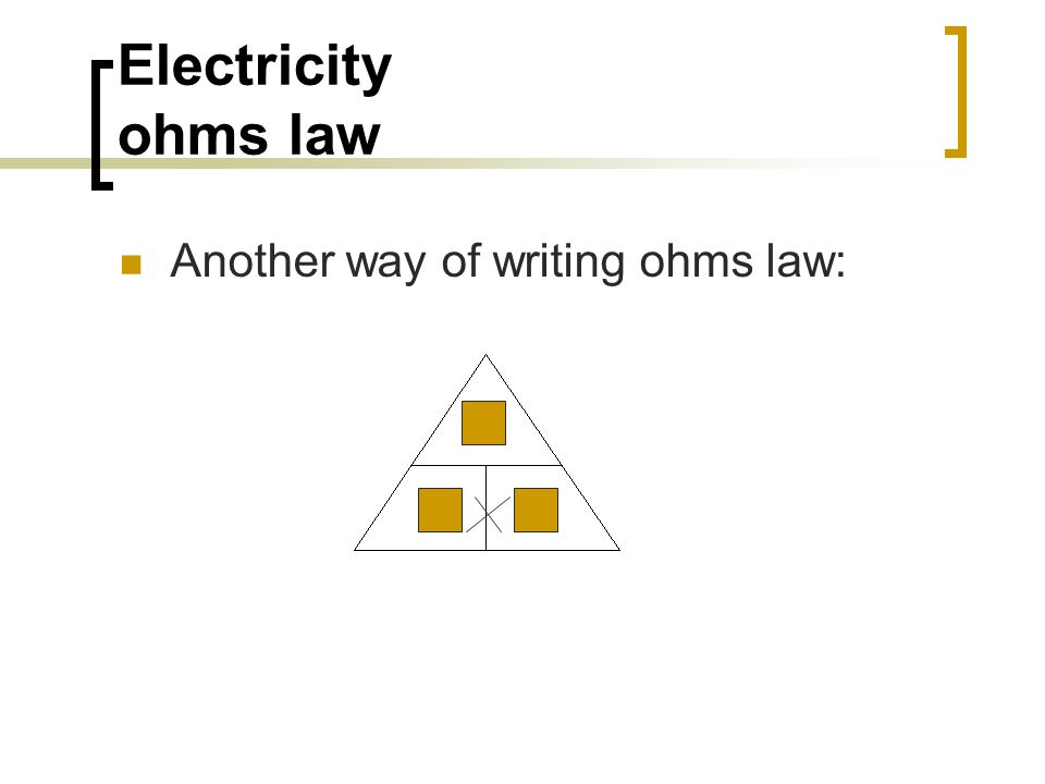 Electricity ohms law Another way of writing ohms law: