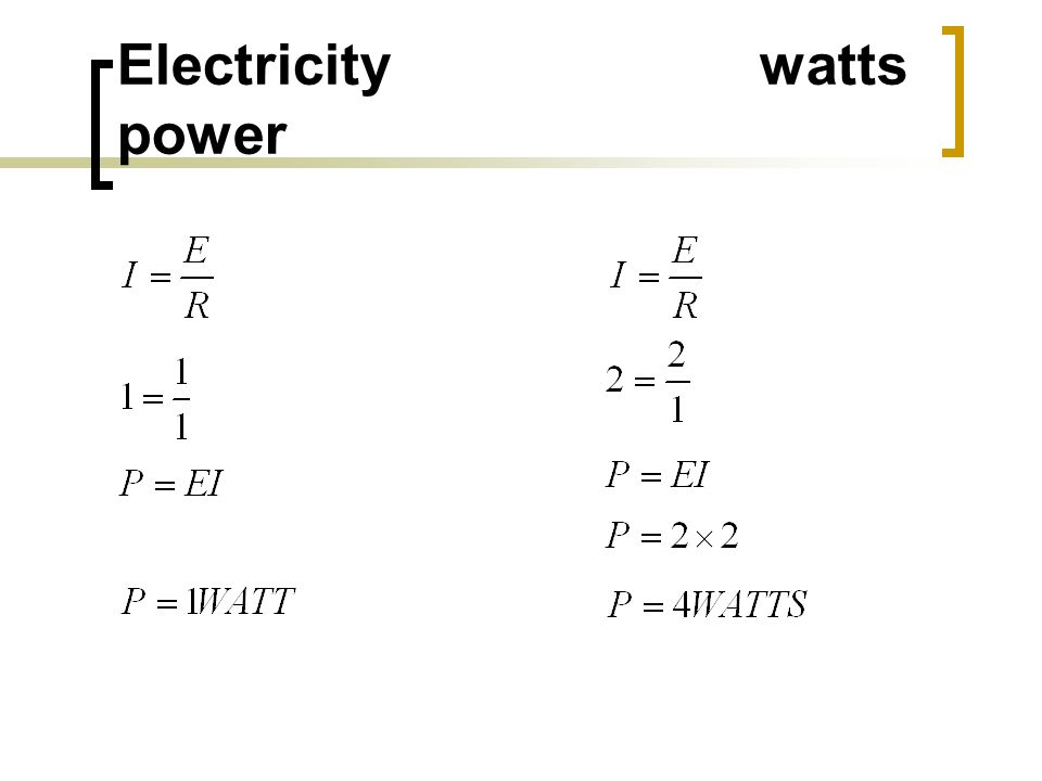 Electricity watts power