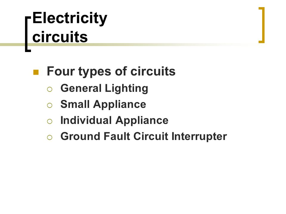 Electricity circuits Four types of circuits  General Lighting  Small Appliance  Individual Appliance  Ground Fault Circuit Interrupter