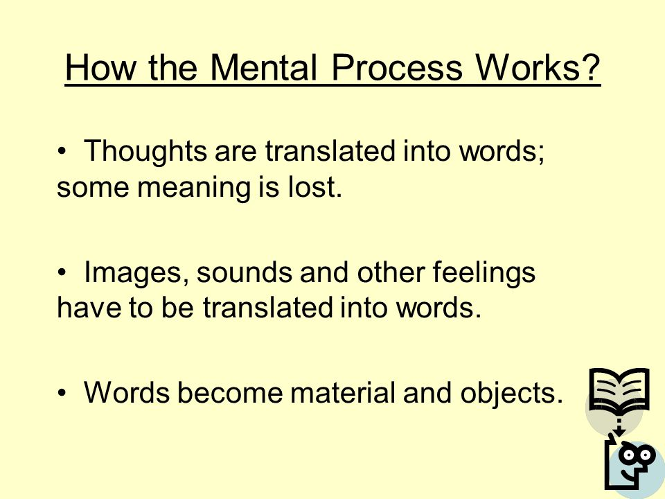 How the Mental Process Works? Thoughts are translated into words; some meaning is lost. Images, sounds and other feelings have to be translated into w