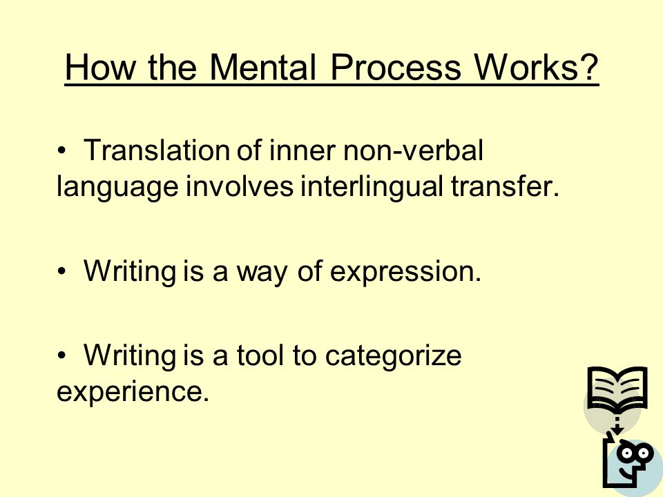 How the Mental Process Works? Translation of inner non-verbal language involves interlingual transfer. Writing is a way of expression. Writing is a to
