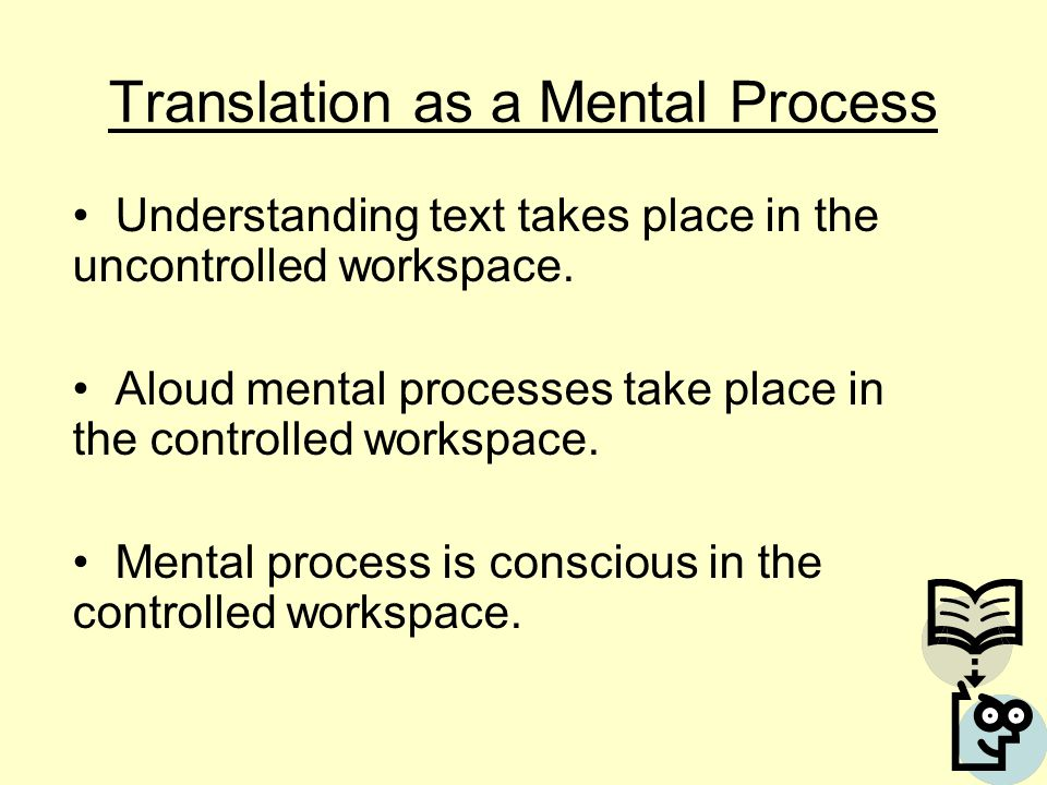 Translation as a Mental Process Understanding text takes place in the uncontrolled workspace.