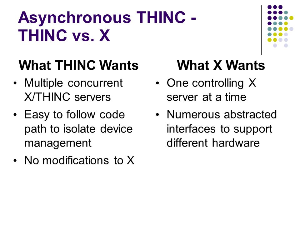 Asynchronous THINC - The Ugly World of X Code Cursor easy to use to track the problem xf86VTSwitch() - The bane of AsyncTHINC LeaveVT()  xf86CursorLeaveVT() ScreenPriv->isUp = FALSE; ScreenPriv->SWCursor = TRUE; Modify just this and you end up with NULL pointers DisableDevices() - called before LeaveVT :-) DisableInputHandlers() - called after LeaveVT :-( Understanding these two should also solve similar keyboard issues