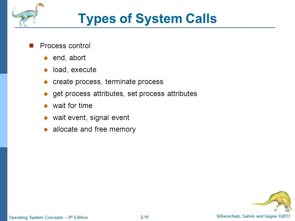 2.18 Silberschatz, Galvin and Gagne ©2013 Operating System Concepts – 9 th Edition Types of System Calls Process control end, abort load, execute create process, terminate process get process attributes, set process attributes wait for time wait event, signal event allocate and free memory