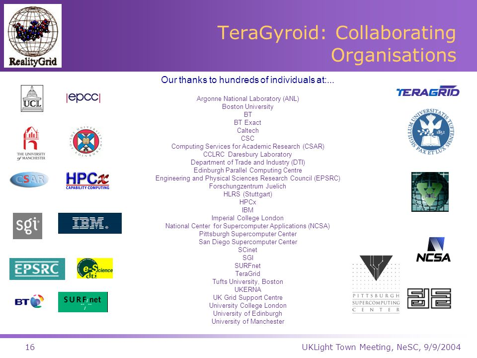 UKLight Town Meeting, NeSC, 9/9/200416 TeraGyroid: Collaborating Organisations Our thanks to hundreds of individuals at:...