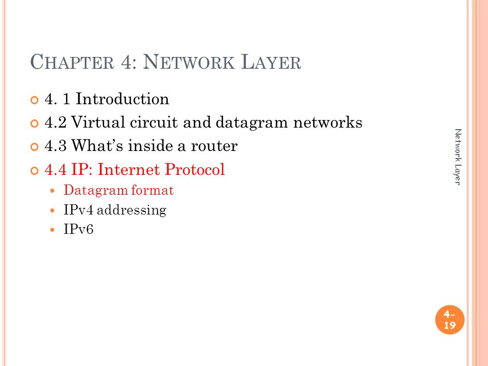 C HAPTER 4: N ETWORK L AYER Network Layer