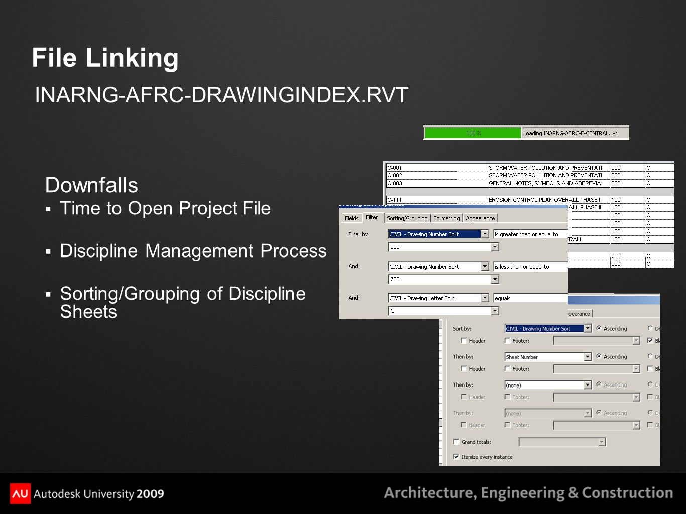 File Linking Downfalls  Time to Open Project File  Discipline Management Process  Sorting/Grouping of Discipline Sheets INARNG-AFRC-DRAWINGINDEX.RV