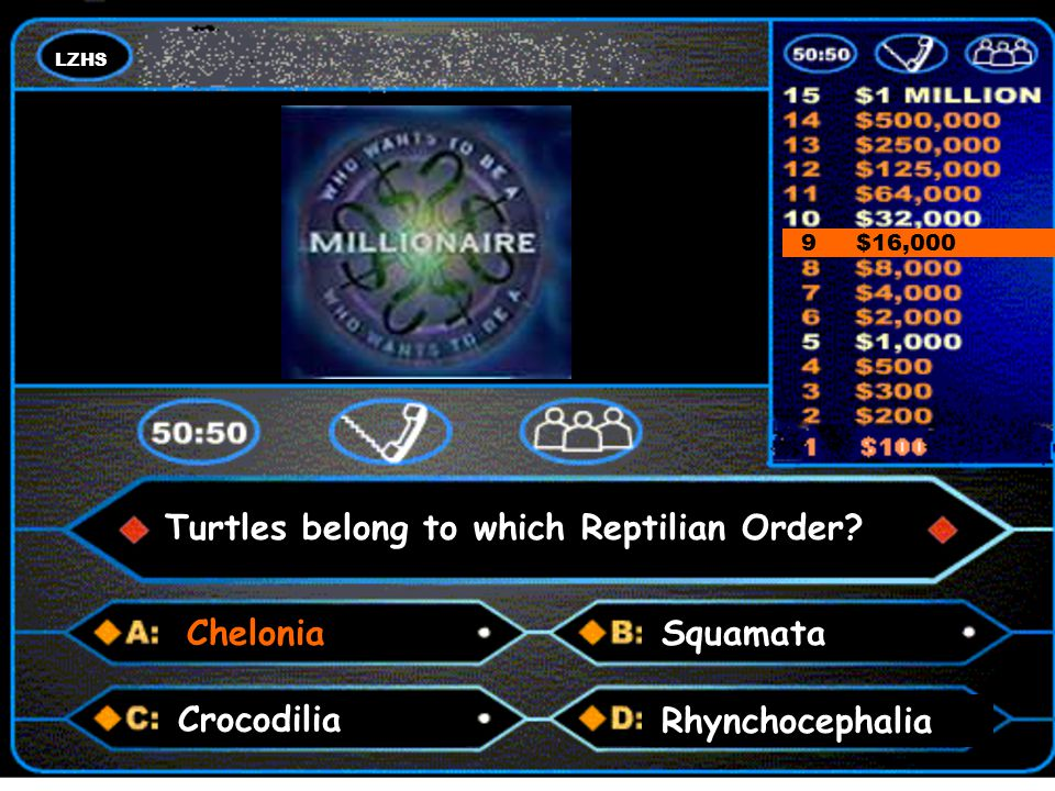 LZHS A number and a colon 9 $16,000 Turtles belong to which Reptilian Order.