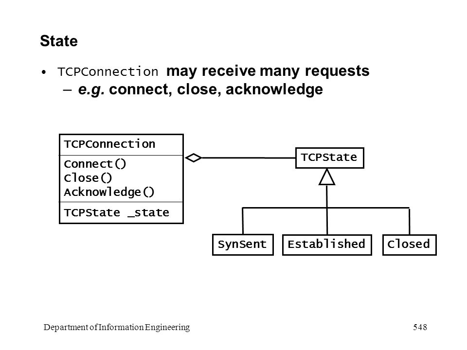 Department of Information Engineering 548 State TCPConnection may receive many requests –e.g.