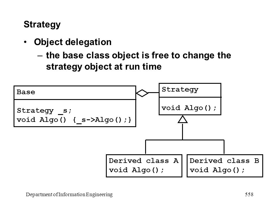 Department of Information Engineering 558 Strategy Object delegation –the base class object is free to change the strategy object at run time Base Strategy _s; void Algo() {_s->Algo();} Strategy void Algo(); Derived class A void Algo(); Derived class B void Algo();