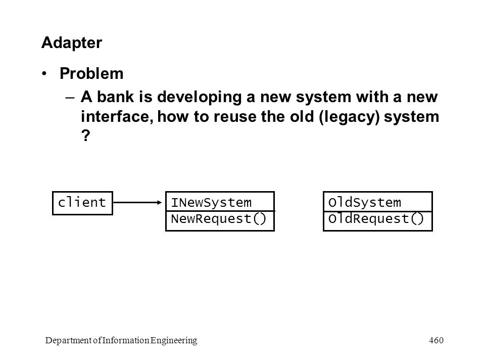 Department of Information Engineering 460 Adapter Problem –A bank is developing a new system with a new interface, how to reuse the old (legacy) system .