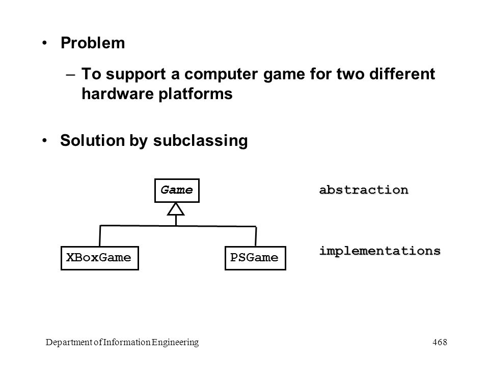 Department of Information Engineering 468 Problem –To support a computer game for two different hardware platforms Solution by subclassing Game XBoxGamePSGame abstraction implementations