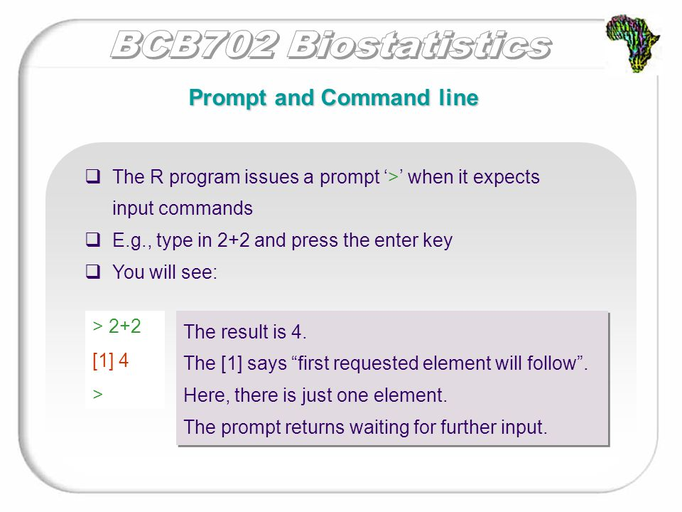  The R program issues a prompt '>' when it expects input commands  E.g., type in 2+2 and press the enter key  You will see: Prompt and Command line > 2+2 [1] 4 > The result is 4.