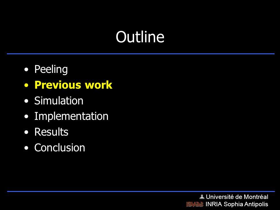 Université de Montréal INRIA Sophia Antipolis Outline Peeling Previous work Simulation Implementation Results Conclusion
