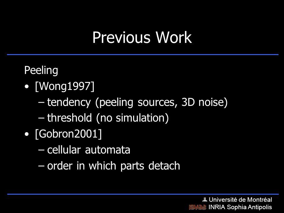 Université de Montréal INRIA Sophia Antipolis Previous Work Peeling [Wong1997] –tendency (peeling sources, 3D noise) –threshold (no simulation) [Gobron2001] –cellular automata –order in which parts detach