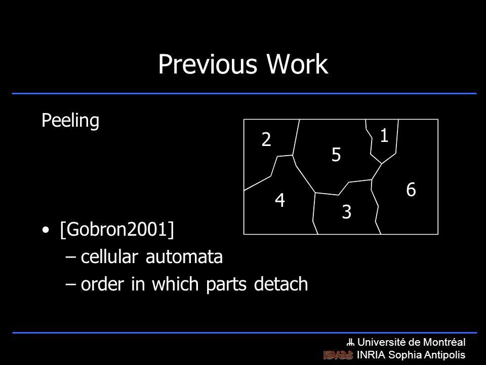 Université de Montréal INRIA Sophia Antipolis Previous Work Peeling [Gobron2001] –cellular automata –order in which parts detach 1 2 3 4 5 6