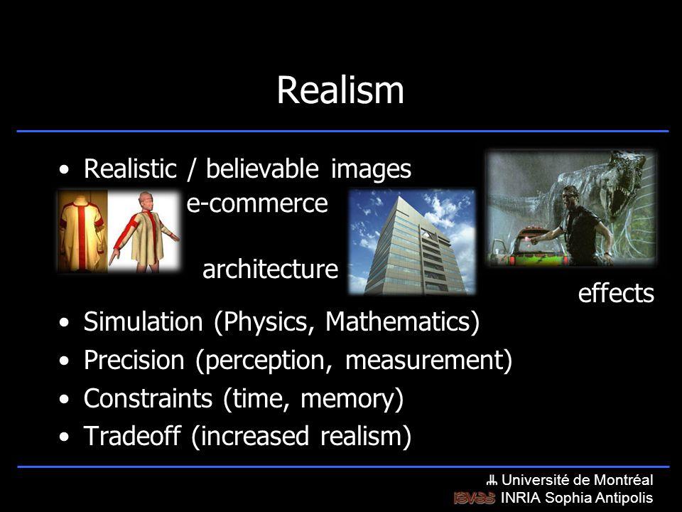 Université de Montréal INRIA Sophia Antipolis Realism Realistic / believable images Simulation (Physics, Mathematics) Precision (perception, measurement) Constraints (time, memory) Tradeoff (increased realism) e-commerce architecture effects