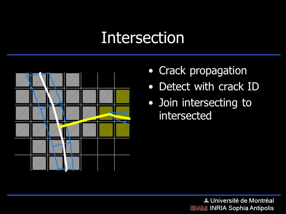 Université de Montréal INRIA Sophia Antipolis Intersection Crack propagation Detect with crack ID Join intersecting to intersected