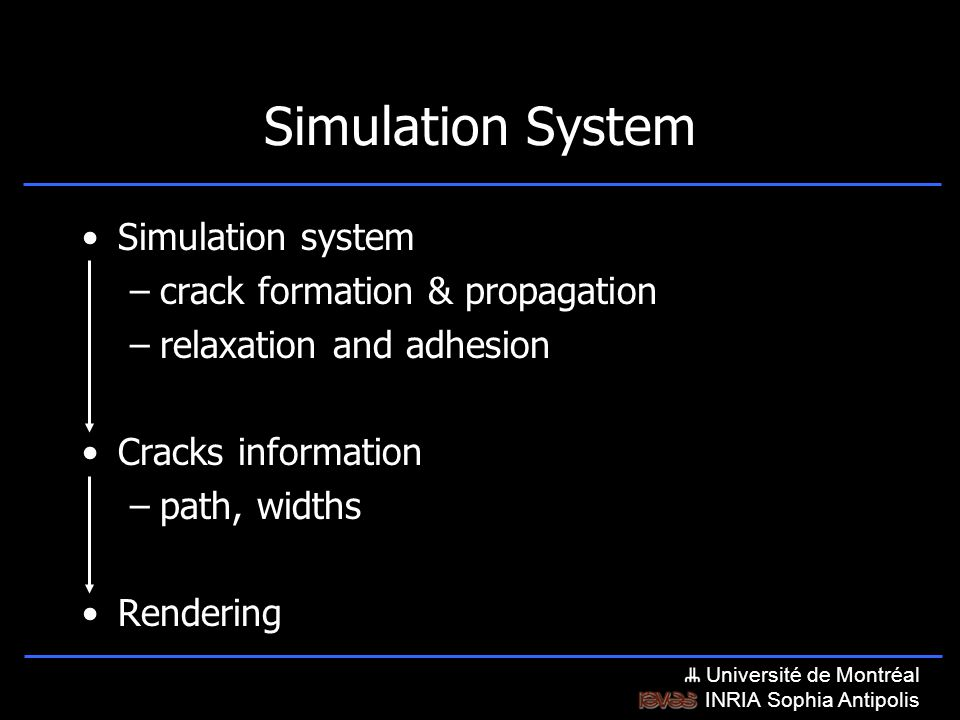 Université de Montréal INRIA Sophia Antipolis Simulation System Simulation system –crack formation & propagation –relaxation and adhesion Cracks information –path, widths Rendering