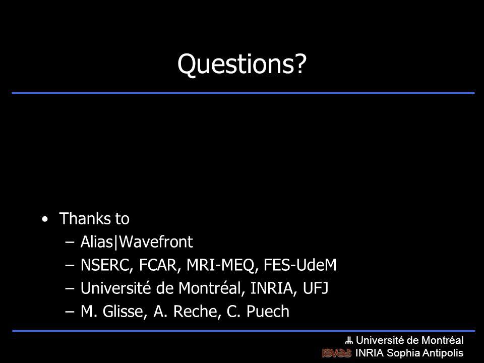 Université de Montréal INRIA Sophia Antipolis Questions.