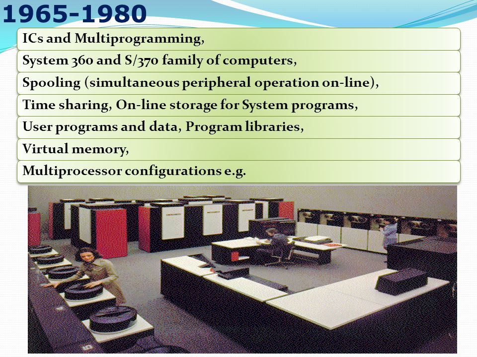 ICs and Multiprogramming,System 360 and S/370 family of computers,Spooling (simultaneous peripheral operation on-line),Time sharing, On-line storage f